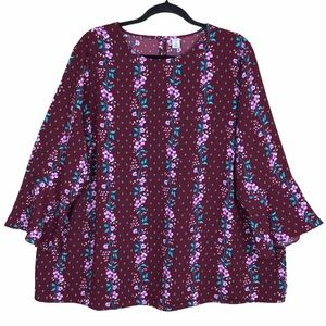Old Navy Floral Bell Sleeve Tunic Blouse